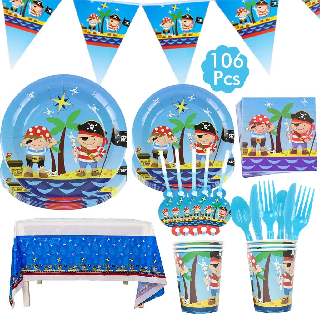 Amycute Pirate Birthday Party Tableware Set 12 Guests, Pirate Party Plates Cups Napkins Tablecloth Banner Straws for Kids Birthday Decorations