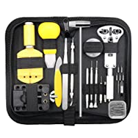 Qimh 147PCS Watch Repair Kit Professional Spring Bar Tool Set, Case Opener Watch Band Link Pin Tool Set with Carry Case