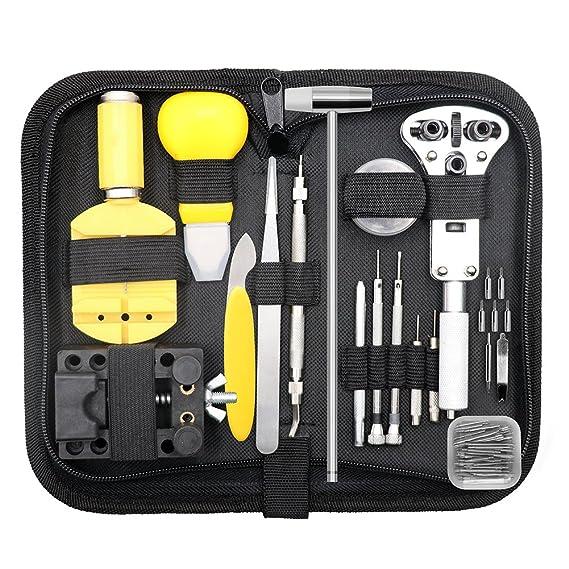 Qimh, 147PCS, kit de reparación de relojes, juego profesional de herramientas para pasadores, abridor de la caja, juego de herramientas para la correa ...