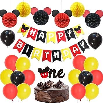 Fangleland Tema de Mickey Mouse 1er cumpleaños Decoraciones ...
