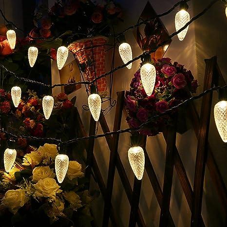 uzexon long lasting outdoor warm white christmas lights with c9 big strawberry bulbs