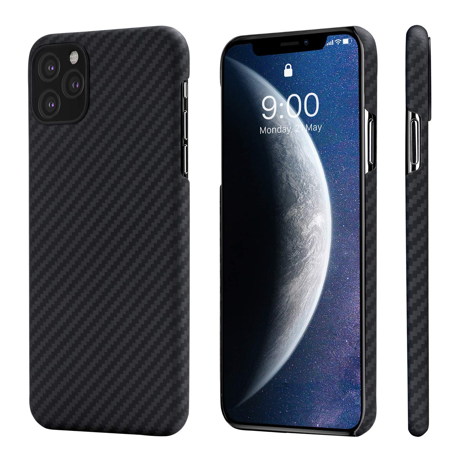 PITAKA Slim Case Compatible with iPhone 11 Pro 5.8'', MagCase Aramid Fiber [Real Body Armor Material] Phone Case, Minimalist Strongest Durable Snugly Fit Snap-on Case - Black/Grey(Twill) by PITAKA
