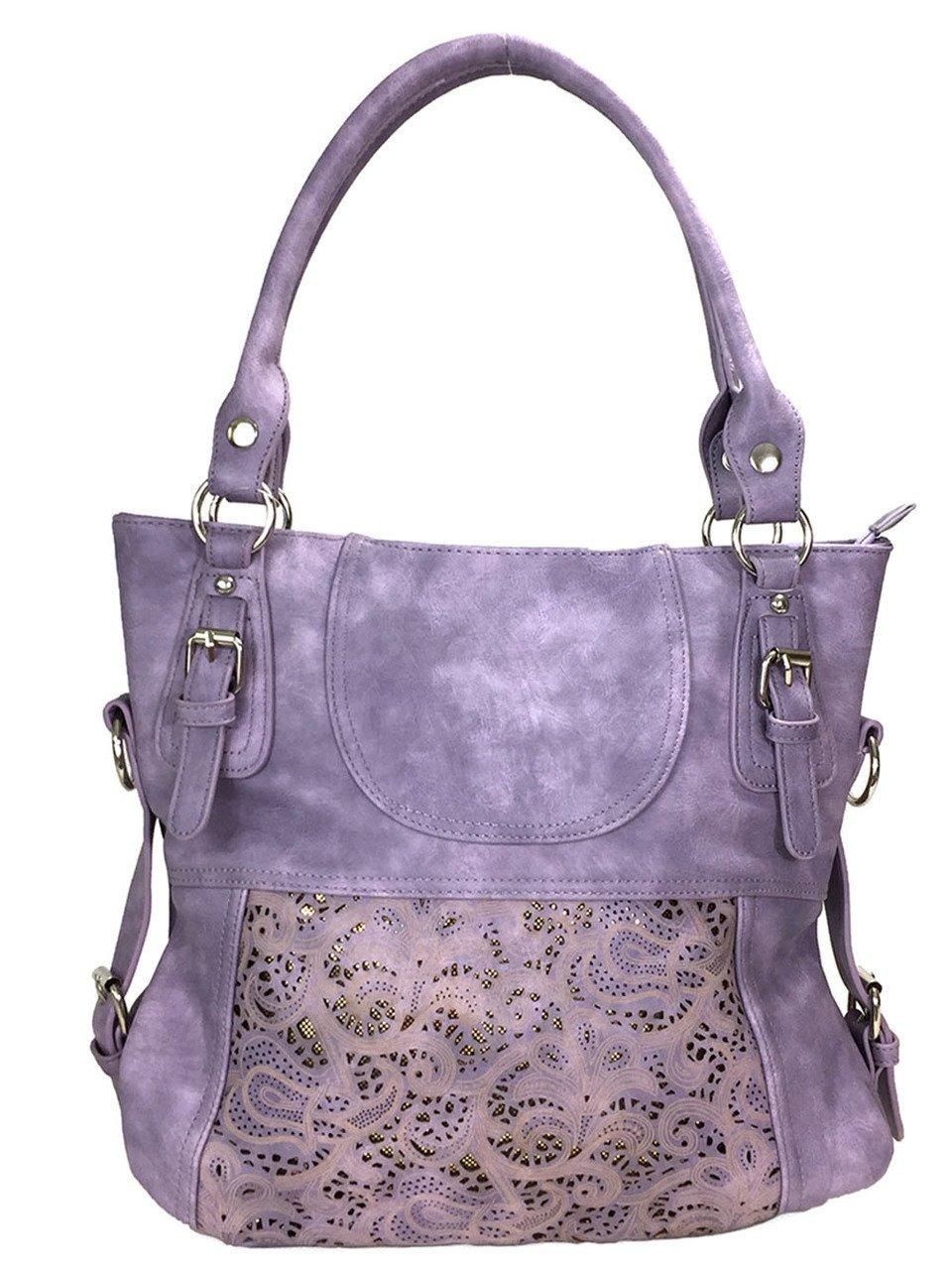 Zzfab Laser Cut Hobo Bag Double Handles Big Purple Purse