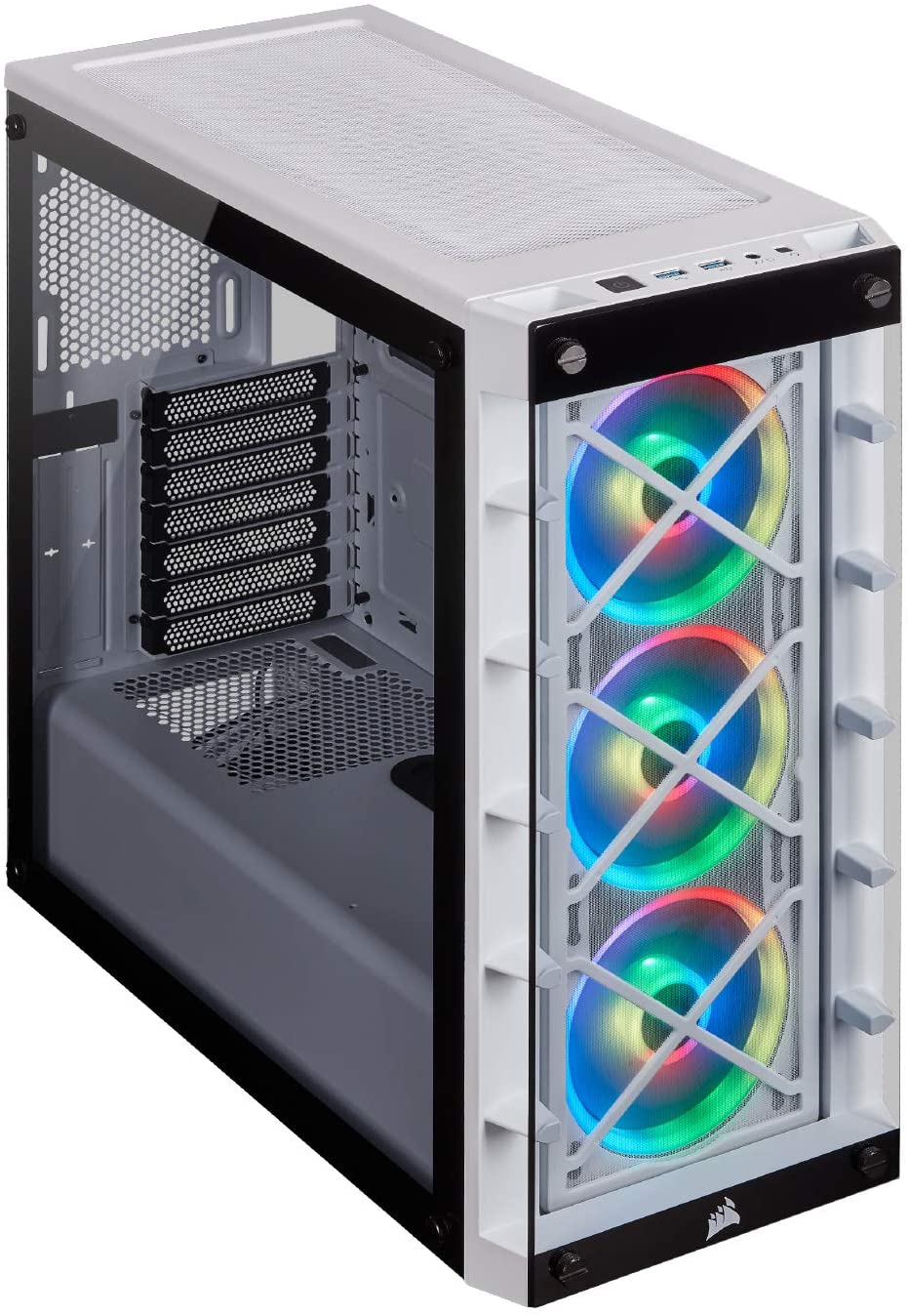 gabinete gamer Corsair Icue 465X RGB Mid-Tower ATX blanco