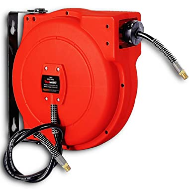 ReelWorks L705102A Plastic Retractable Air Compressor/Water Hose Reel with 1/4  x 33' Hybrid Polymer Hose, Max. 300 psi