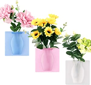 Boao 3 Pieces Silicone Flower Vase Sticky Flower Vases Adhesive Wall Hanging Vase Removable Flower Pot Decoration for Fridge Door, Glass Window, Ceramic Tile