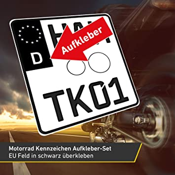 2x Motorrad Kennzeichen Nummernschild Aufkleber Eu Feld Schwarz 1x Starter Set