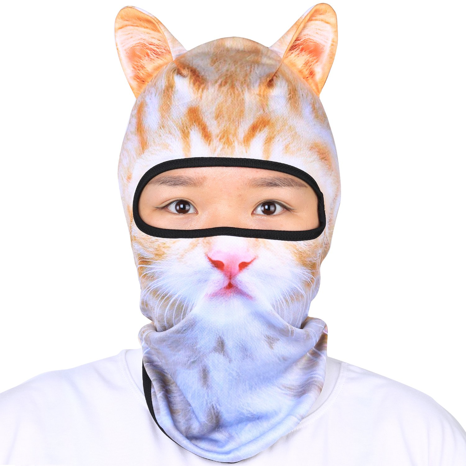Oumers Animal Balaclava Face Mask with Ears Breathable Hood Face Shield for Outdoor Sports Cycling Motorcycle Ski Halloween Party Gift, One Size Fit Most (Women/Men)-White-Grey Color Cat