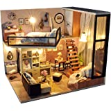 Kisoy Romantic and Cute Dollhouse Miniature DIY House Kit Creative Room Perfect DIY  Friends,Lovers and Families Comes with Dust Proof Cover and Music Movement (Dream Attic)