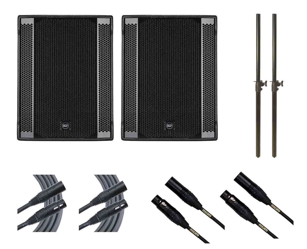 2x RCF Sub 708-AS II + Subwoofer Poles + Mogami Cables