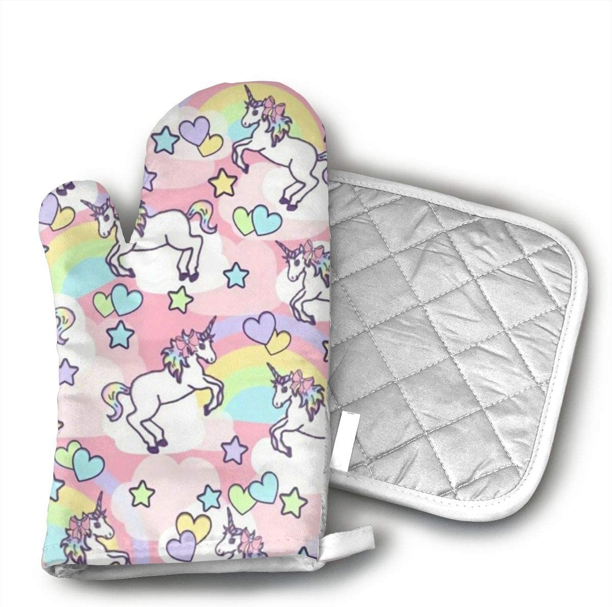 Rainbow Unicorn Oven Mitts and Potholders (2-Piece Sets) - Kitchen Set with Cotton Heat Resistant,Oven Gloves for BBQ Cooking Baking Grilling