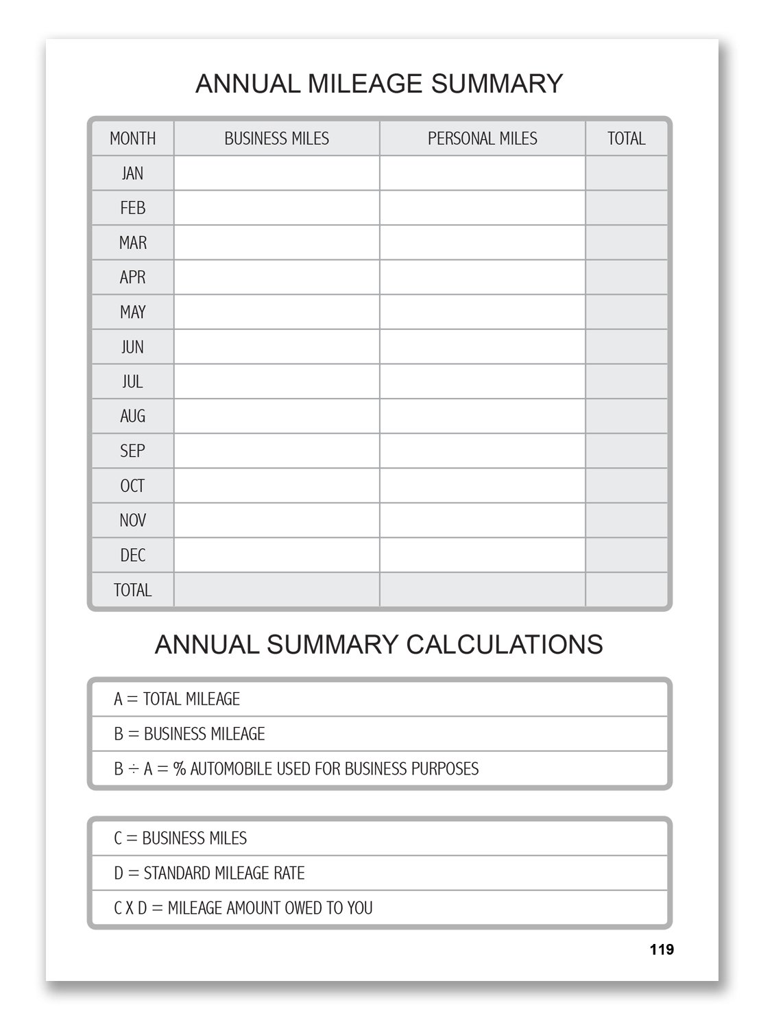 bookfactory auto mileage log book automobile expense record notebook