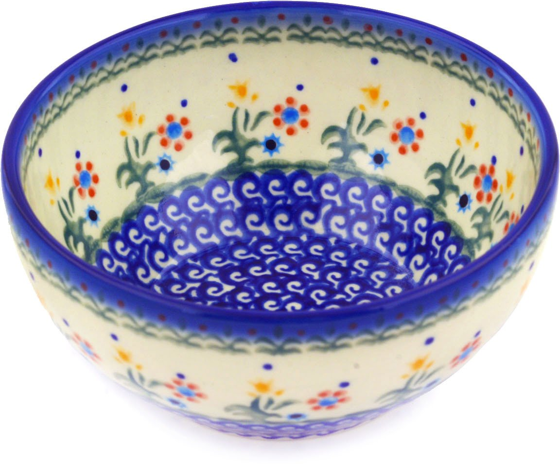 Polish Pottery Bowl 6-inch Spring Flowers