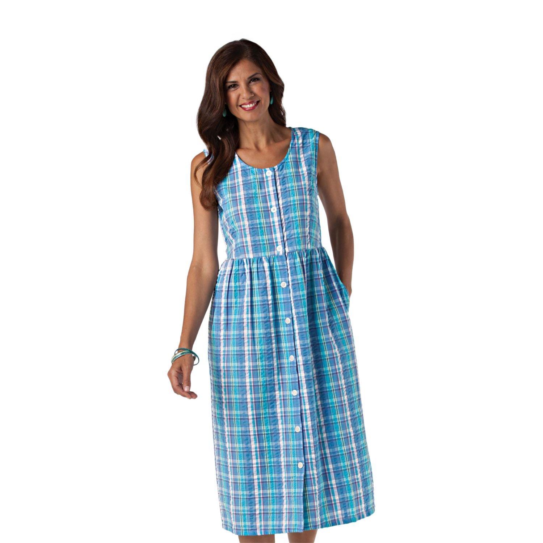 Old Pueblo Traders Women\'s Plus Size Seersucker Dress - 1X Blue ...