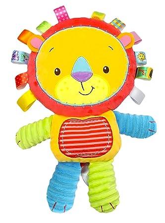 Happy Cherry Peluche con Texturas Etiquetas Sonajero Muñeca de Animal Infantil Juguete Multicolor con Sonidos para