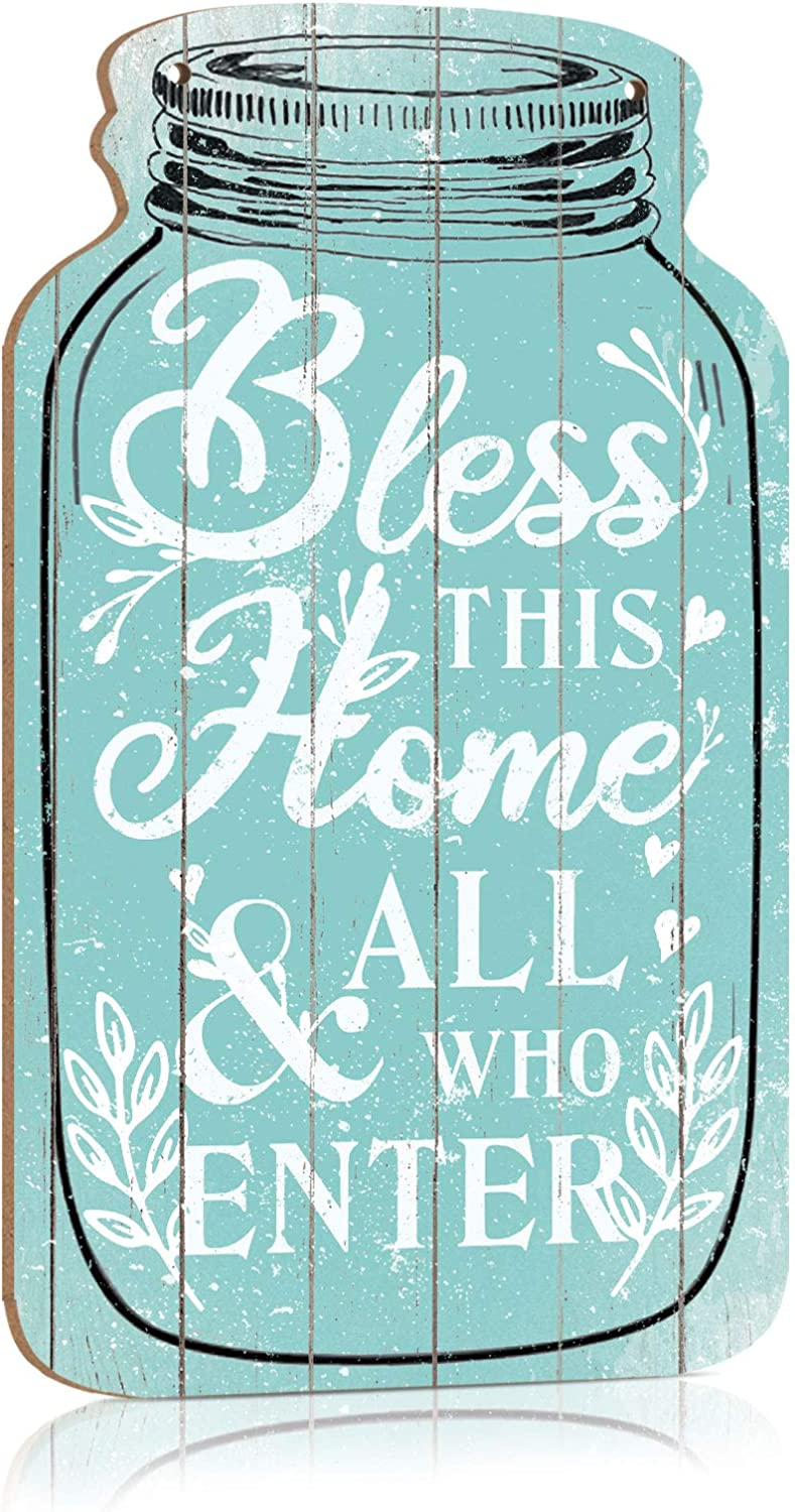 Putuo Decor Home Bless Sign, Bless This Home All Who Enter, Mason Jar Shape Hanging Plaque 8.3x4.5 Inches