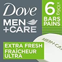 Dove Men+Care Body and Face Bar for Refreshed Skin Extra Fresh ¼ Moisturizing Cream 106 g 6 count