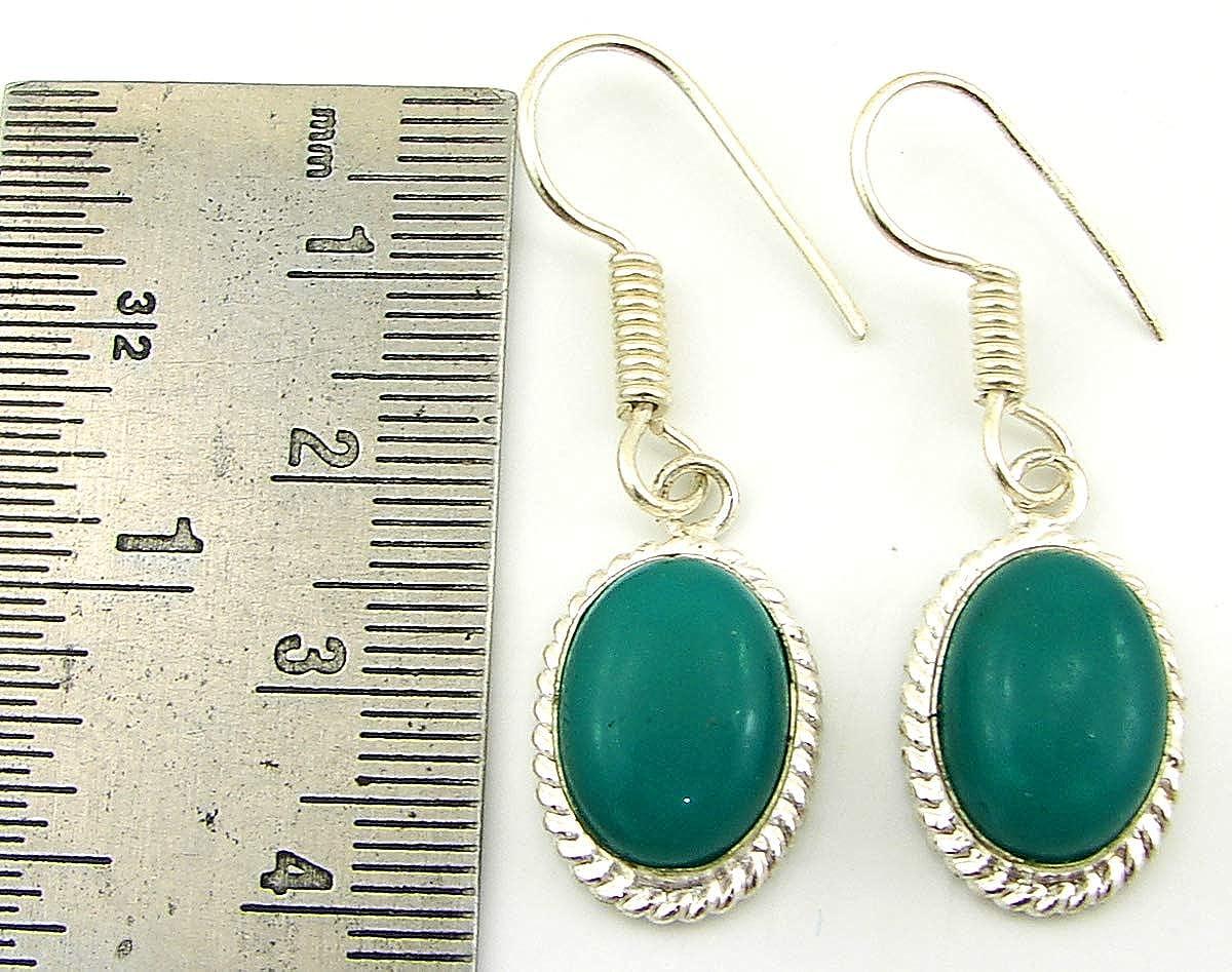 925 Silver Plated Green Onyx Gemstone Earrings Dangler Girl Fashion Jewelry-1505