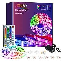 LED-stripverlichting met afstandsbediening, JESLED 6m LED-verlichting voor slaapkamer, RGB-kleurveranderende…