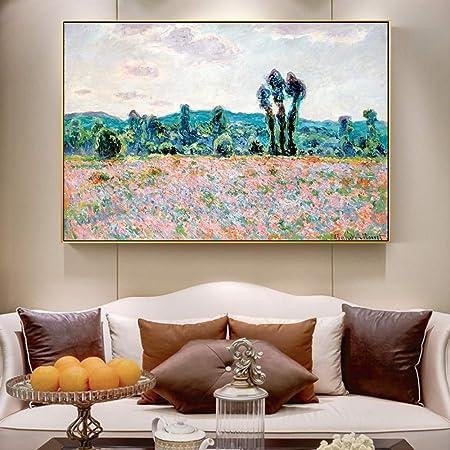 QWESFX Pinturas de campo de amapolas en la pared de arte impresionista de la pared Reproducción de lienzo Cuadros decorativos para la sala de estar (imprimir sin marco) B 40x60 cm: Amazon.es: