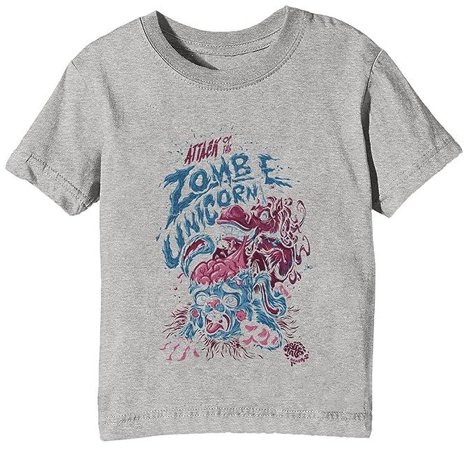 Zombie Unicorn Attacks Niños Unisexo Niño Niña Camiseta Cuello Redondo Gris Manga Corta Tamaño XS Kids
