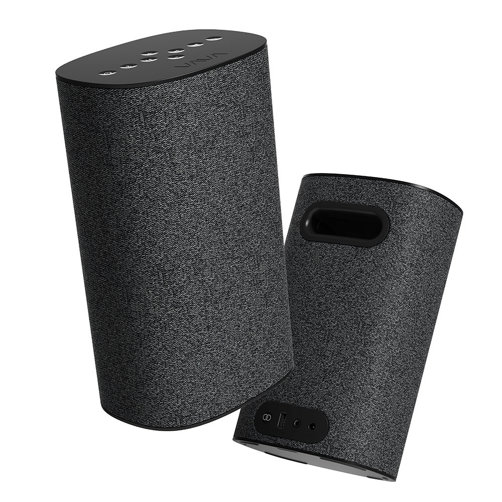Bluetooth Speakers, A Pair of VAVA VOOM 22 True Wireless Speakers (60W Hi-Fi Sound, Home Theater System, Bass EQ, 3.5mm Compatibility, Built-In Controls, Charger Port for Phones)