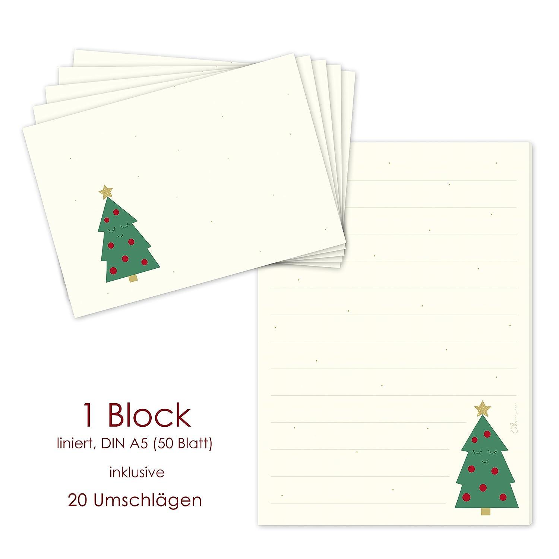 'Blocco/Blocco lettera Albero di Natale DIN A5a righe con 20Buste abbinate Set corrispondenza cancelleria/Natale/Natale/letterina Block emufarm