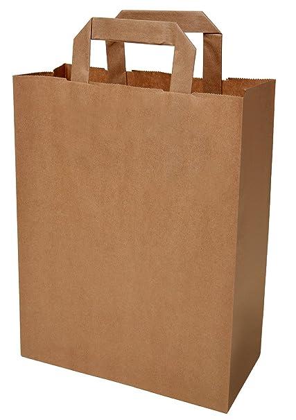 PGV - Lote de 50 bolsas de cartón con asa (22 + 11 x 28 cm ...