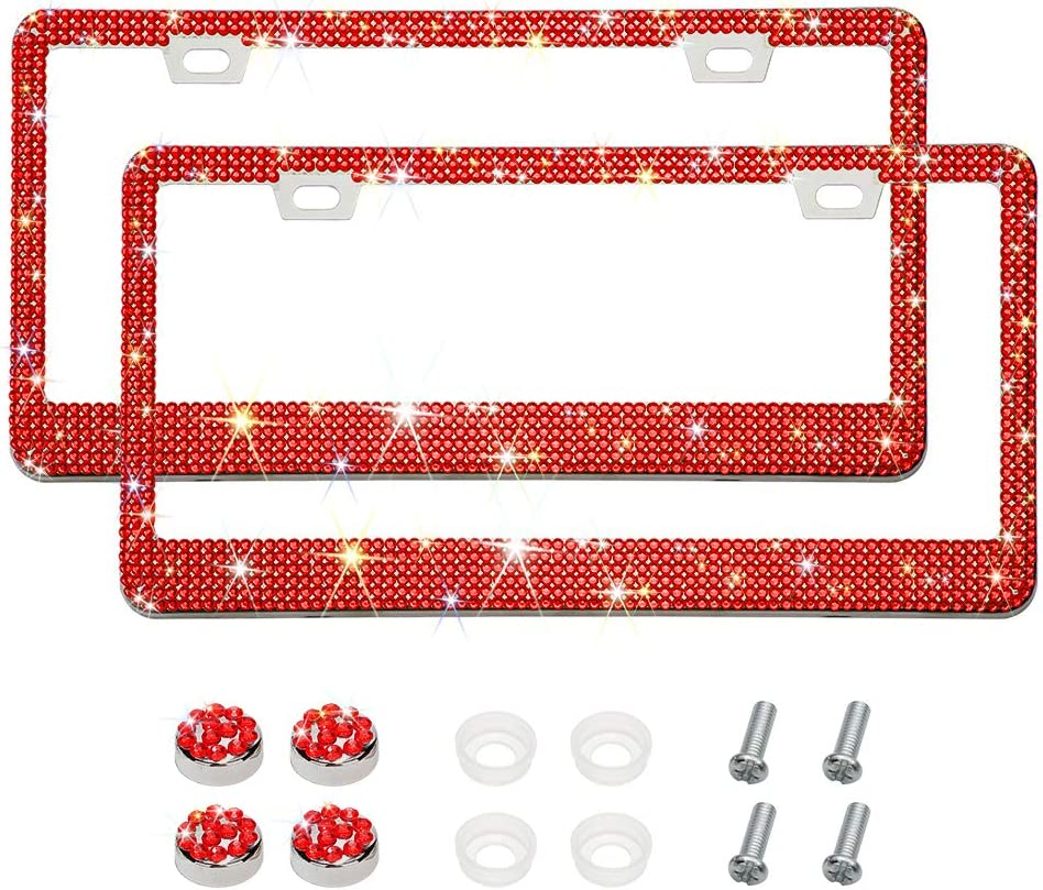 Handmade 6 Rows 14 Facets SS20 Diamond Stainless Steel License Plate Holder Cover 2 Hole Red Otostar 2 Pack Bling Crystal Car License Plate Frame