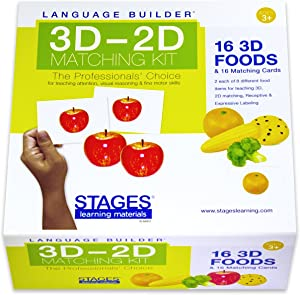 Stages Learning Language Builder 3D-2D Foods Matching Kit for Autism Education & Aba Therapy Flash Cards