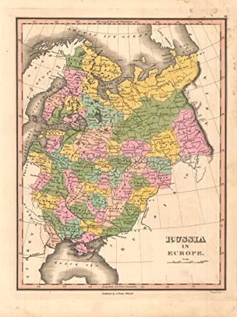 Map Of Russia In Russian.Russia In Europe Antique Map Original Russian Decor History