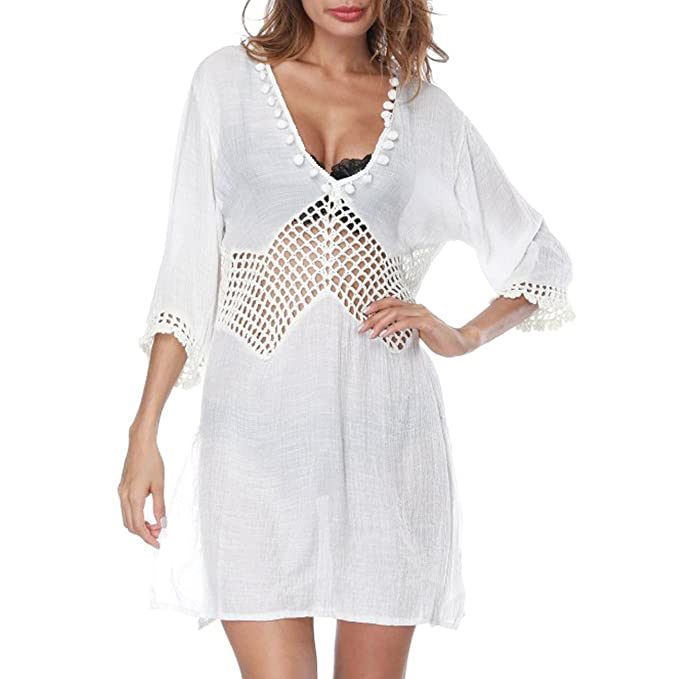 e0a24680b396 Dingjun Women's Beach Swimsuit Cover ups Cotton Pompom Hollow Crochet Trim  Bikini Cover up Swimwear Dress (White Sexy V Neck) at Amazon Women's  Clothing ...