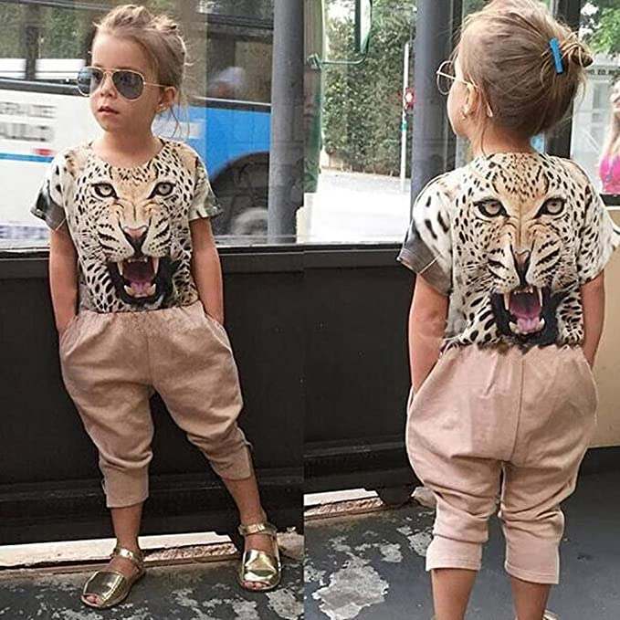 Vestidos niñas, Switchali Niñito Infantil Bebé Niña moda manga corta leopardo camisa + Pantalónes Niñas