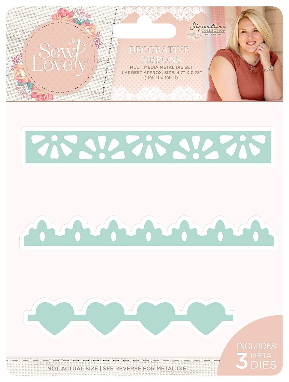 Sara Signature Sew Lovely - Multi Media Die - Decorative Ribbons, Silver, one Size Crafter's Companion S-SL-MMD-DECR