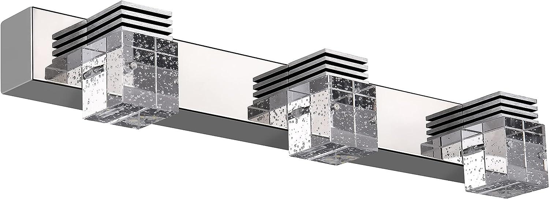 YITAHOME Modern Crystal Bathroom Vanity Light 3 White LED Chrome Stainless Steel Vanity Lights fixtures with 6000K Cool Light for Bathroom Bedroom Living Room Hallway Home Decor Indoor