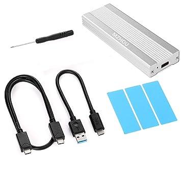 MZHOU de Disco Duro Externa USB 3.1 para SSD NVMe PCIe M.2 Carcasa de Aluminio para un Adaptador más Fresco, de Disco Duro NVMe C Gen2 USB con 10 ...