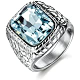 MASOP Anti Allergy 316L Stainless Steel Ring Man Synthetic Aquamarine Crystal Engagement Wedding Jewelry
