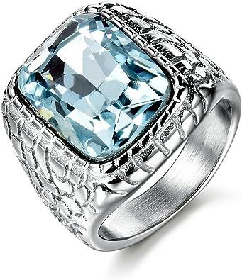 Amazon.com: MASOP anillo de compromiso de acero inoxidable ...