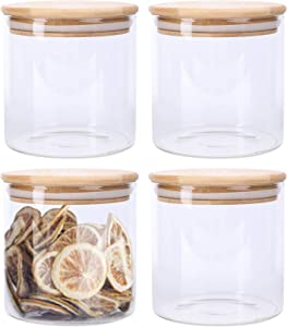 Lawei 4 Pack Glass Storage Jars with Sealed Bamboo Lids - 18.6 FL OZ Clear Glass Bulk Food Storage Canister for Serving Tea, Coffee, Spice, Candy, Cookie
