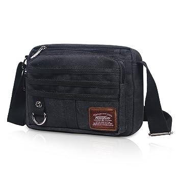 6098f67f798 JAKAGO Small Waterproof Casual Canvas Shoulder Bag Messenger Bag Crossbody  Bag Mens Satchel Iphone Ipad Mini