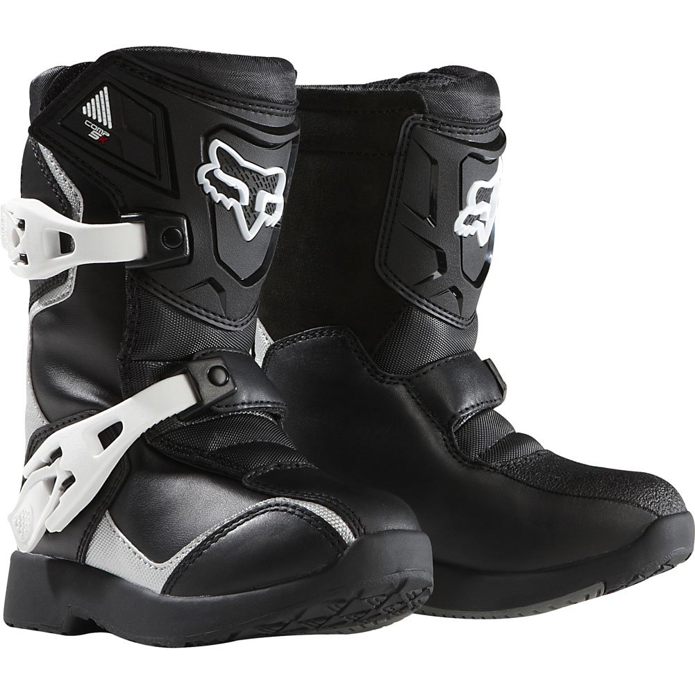 Fox Racing Pee Wee Comp 5K Youth Boys Off-Road/Dirt Bike Motorcycle Boots - Black/Silver/Size 12