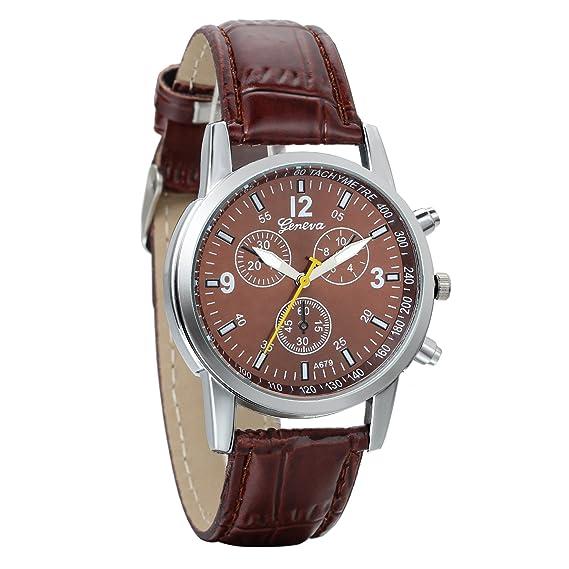 Reloj hombre avaner reloj pulsera reloj Digital gráfico analógica correa de piel pulsera reloj Sport hombre marrón: Amazon.es: Relojes