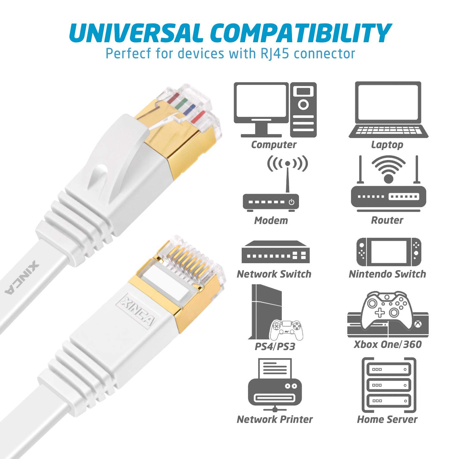 Renewed Cat 7 Flat Ethernet Cable 50ft White,High Speed 10GB Shielded LAN Internet Network Cable-XINCA Ethernet Patch Computer Cable with Snagless Rj45 Connectors STP 15.2 Meters 50 feet White