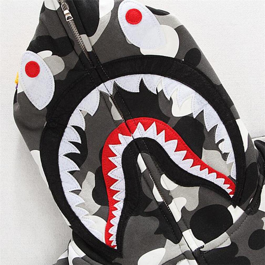 Sissiren Uomini Maglia a Camicia da Stampa a Capo Dello Squalo 3D Maglione Zip Felpa con Manica Lunga