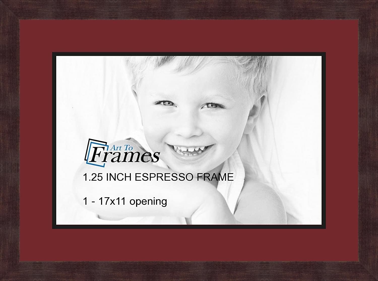 Art to Frames Double-Multimat-727-594/89-FRBW26061 Collage Frame Photo Mat Double Mat with 1 - 11x17 Openings and Espresso frame