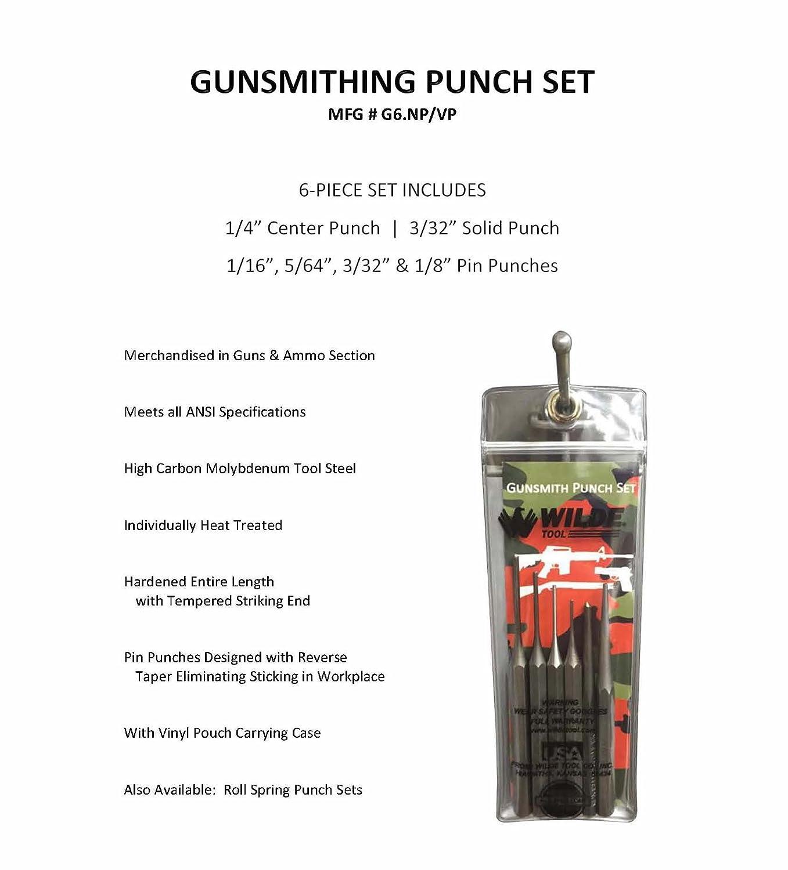 Wilde Tool G6 Gunsmith Punch Set, 6-Piece with Vinyl Pouch ...