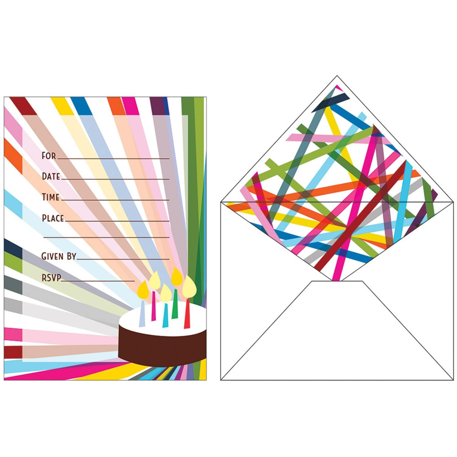 Club Pack of 120 Multicolored Birthday Party Invitations with Matching Envelope 7''