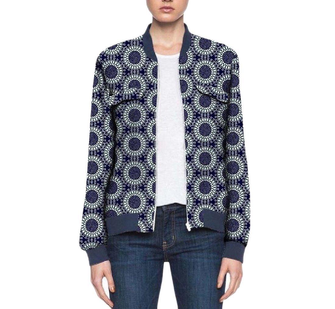 Vska Women's Coat Cotton Africa Zip Dashiki Classic Baseball Jacket 3 XL
