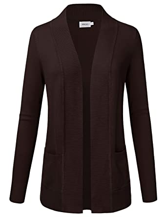 cb33d84c57 NINEXIS Women s Long Sleeve Open Front Knit Pockets Sweater Cardigan Brown S