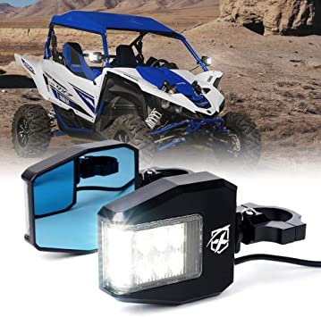 Xprite UTV Rear Side Mirrors with LED Spot Lights and Adjustable Clear Lens fit 1.5 to 2.5 Roll Bar Cage for Polaris Maverick X3 and other Models ATV RZR Yamaha UTV